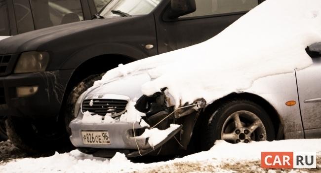 автомобиль, машина, снег, радиатор, поломка, припаркованный, парковка