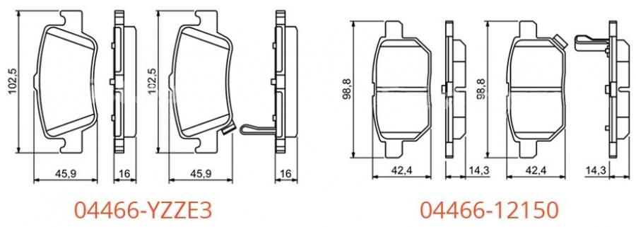 Задние тормозные колодки 04466_12150 и 04466_YZZE3 для Тойота Королла